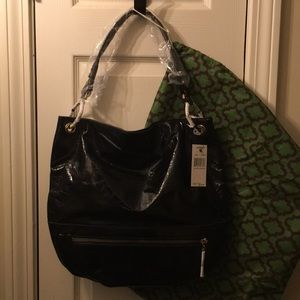 orYany black croco patent hobo handbag